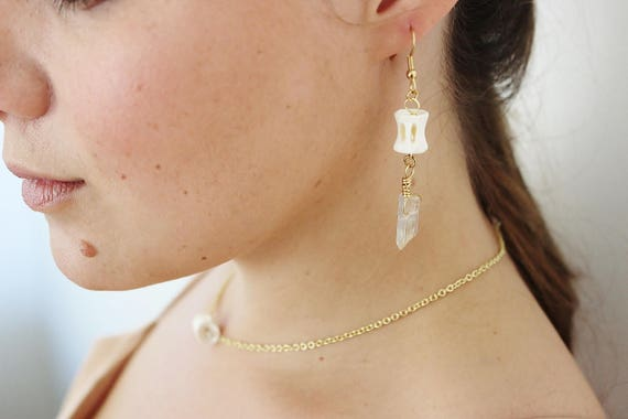 Vertebrae & Quartz Earrings