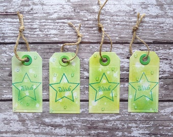 Set of 4 gift tags - Wish! A set of 4 lime green all purpose gift tags suitable for any occasion.