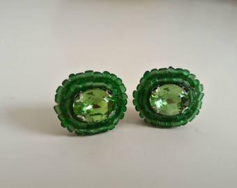Orecchini lobo verdi con strass e perline / idea regalo natale / handmade earrings /green earrings