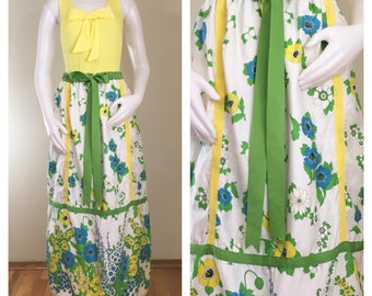 70s Mr. Hank White Green Floral Ribbon A-line Maxi Skirt, Size Small to Medium