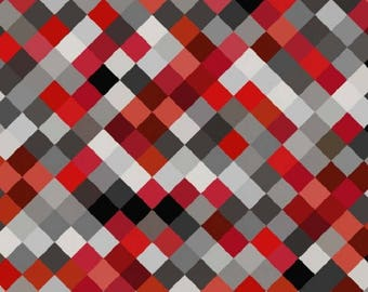 "108"" Premium Wide Back Quilting Fabric, 'Hopscotch' by Blank Quilting, Red, Black and Gray Squares on the bias, bty,  8743W-88"