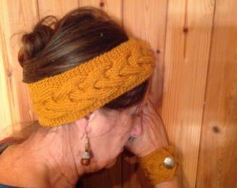 Headband and wrist saffron yellow wool jewelry set