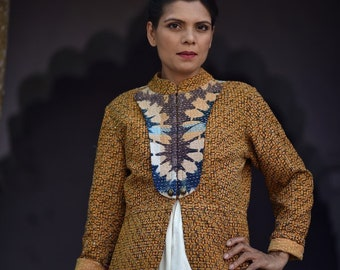 Medium ~Roshini Thinakaran, Handmade Kantha Jacket with Brass Button in Mustard Yellow.