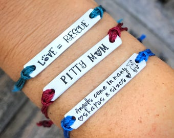 Dog lover friendship bracelet,Custom Hand Stamped Bracelet, Pit bull lover,  personalized Jewelry, Quote Bracelet, Gift Idea,