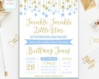 Twinkle Twinkle Little Star Baby Shower Invitation, Baby Blue and Gold Baby Shower Invitations, Printable Little Star Baby Shower Invites