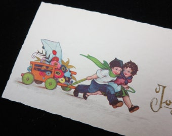 1920s Christmas Card - Joyeux Noel, French, Small, Children with Flowers in a Wagon