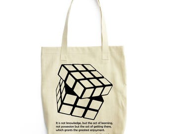 Gauss Quote and Rubik's Cube tote bag