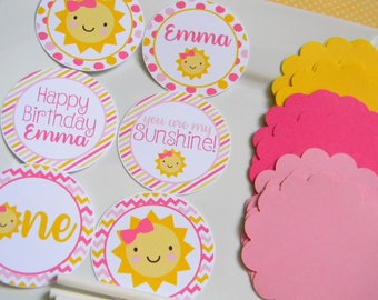 You Are My Sunshine DIY Cupcake Toppers, Sunshine Party Decorations, Sunshine Cupcake Toppers, Sunshine Party Supplies, Set of 12