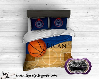 Basketball Theme  for Boy or Girl Bedding Custom Design and Personalized Comforter or Duvet with Monogram