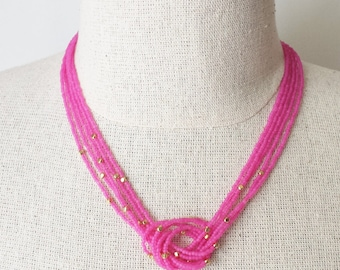 Beaded necklace, seed bead necklace, Hot pink necklace,bridesmaid gifts,bridesmaid necklace,knot necklace, fuchsia necklace,magenta necklace