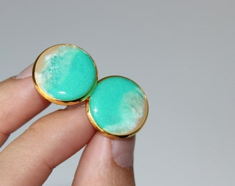Resin Cufflinks, 16mm, Gold Tone, Father's Day, Groomsmen Gift
