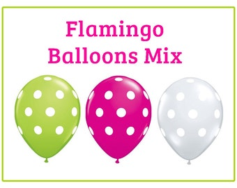 "Flamingo Hot pink Lime Green polka dot Print 11"" Balloons birthday party decorations  wedding bridal shower baby shower"