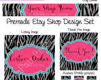 zebra etsy cover photo, Etsy Banner Set, Glitter Cover, Sparkle Etsy Banner, Zebra Shop Banner, Animal Print Shop Banner