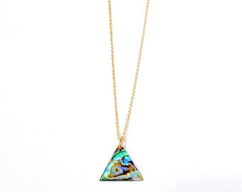 Abalone Seashell Triangle Necklace