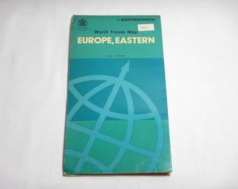 1976 Eastern Europe Bartholomew World Series Travel Map