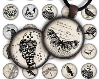 75% OFF SALE Digital Collage Sheet BW Fauna 1inch Round 25mm Circle Pendant Ring Printable Download PC028 Instant Download Jewelry Making