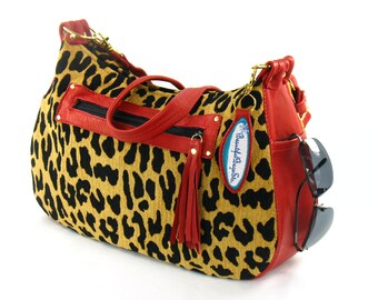 Red Leather Hobo - Leopard Handbag - Leather and Tapestry Cross Body - Animal Print Shoulder Bag