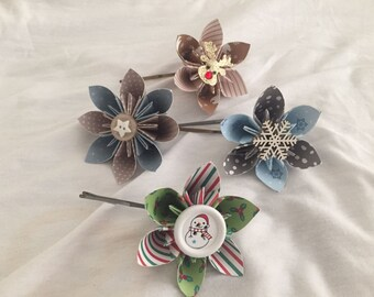 Christmas Paper Flower Hair Clips.
