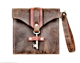 leather wristlet mini purse leather clutch bag ]small distressed leather pouch steampunk skeleton key two toned wallet