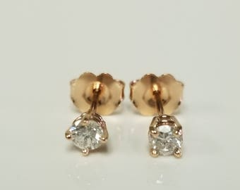 Estate 14k Rose Gold .20ct Diamond Studs Earrings Stud .15ct .25ct GE116-4