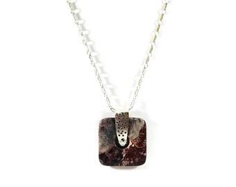 Sterling Silver Pendant - Handmade Pendant - Square Pendant