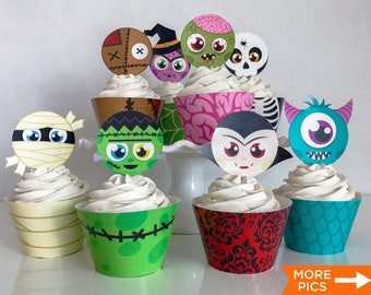 Printable Cute Halloween Cupcake Toppers and Wrappers, Kid's Halloween Party, Halloween Cupcake Favors, Print Yourself, Instant Download