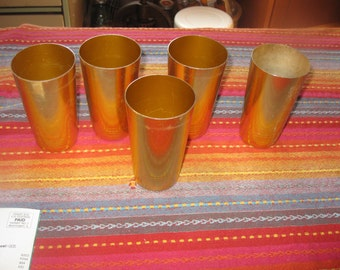 Vtg set of 5 Gold anodized  Aluminum  tumblers Mod 50s stackable tumblers free ship