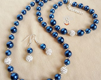 Blue Pearl Necklace, Bracelet and Earring Set, Shamballa and Pearl Jewelry Set