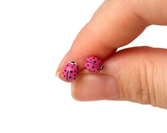 Ladybug Earrings - Little Girl Jewelry - Pink Stud Earrings - Tiny Stud Earrings - Fun Earrings - Gift for Little Girl - Kids Jewelry