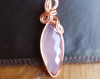 Rose Quartz Pendant wrapped in Bare Copper wire