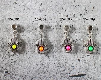 Cord bracelet charm - hamsa with neon Swarovski pearl