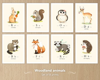 Woodland animals print set, woodland forest animals, Woodland animals nursery, Forest animal, Woodland creatures set of 8 prints