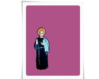 Saint Maximilian Kolbe Poster Art Painting Illustration Religious Catholic Meditation Decor