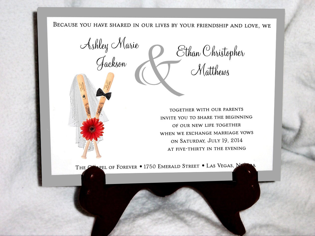 Baseball Wedding Invitations RSVPs Reception Insert w