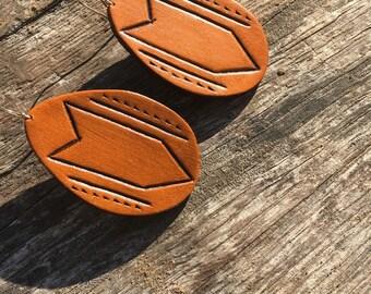 Geometric Tooled Leather Earrings