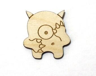 Au début le monstre timide - non peint bois découpé au Laser aimant -
