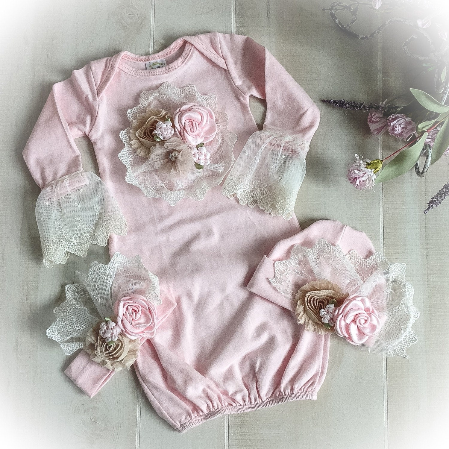 Newborn Girl Coming Home Outfit, Newborn Girl Gown, Pink Coming Home ...