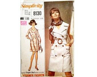 "Simplicity 8130 Vintage 60's Trench Coat / Designer Fashion Coat Dress Sewing Pattern Sizes Bust 34"" UK 12"