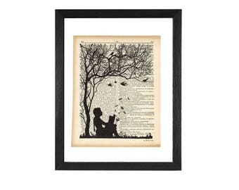 Little girl reading a book print-dictionary print-dandelion print-children wall art-silhouette print-nursery print-Upcycled Dictionary-DP224