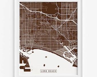 Long Beach Print, California Poster, Long Beach Poster, Long Beach Map, California Print, Street Map, California Map, Fathers Day Gift