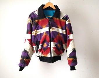 90s SOUTHWEST ikat FLEECE jacket reversible coat thick knit jacket