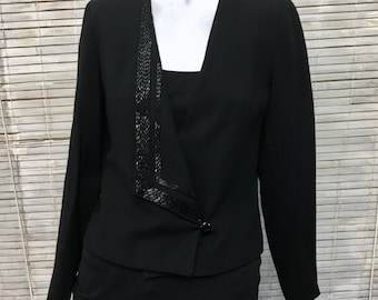 Blazer jacket women's Allen Bernard LTD Black Wool Beaded Lapel V Neck Vintage Blazer Jacket Size S