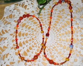 """18"""" ag doll jewelry, doll/child orange jewelry, childs orange necklace, matching childs orange jewelry set"""