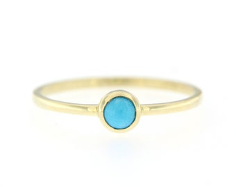 Turquoise Ring, Turquoise Gold Ring, Dainty Gold Ring, Gold Ring for Women, Stacking Gold Ring, Natural Turquoise Ring, Blue Stone, GR0595