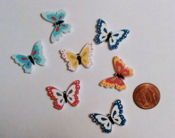 Wood Butterfly Buttons, 8 pcs, Sewing, Scrapbooking, Crafts