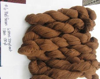 Medium Brown Pure Alpaca 3 ply worsted weight yarn
