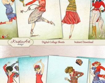 75% OFF SALE Sport - Digital Collage Sheet Digital Cards C181 Printable Download Image Tags Digital Image Atc Cards Sport Vintage ACEO