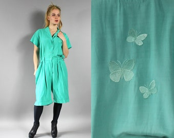 80s Green Butterfly Embroidered Romper Onesie . Summer One Piece Playsuit  . Shorts Jumpsuit Retro Hipster 1980s Vintage Dungarees . L Large