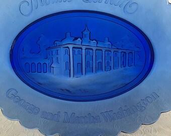 Cobalt Blue Mt. Vernon Plate Soap Dish by Avon with Original Box