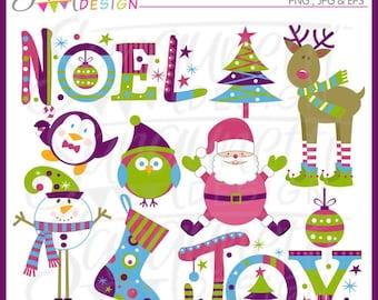 Colorful Modern Christmas Clipart,  Christmas Clipart, Santa Clipart, Reindeer Clipart, Snowman Clipart, Penguin Clipart, Winter Clipart